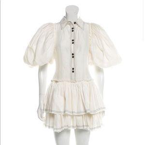 AJE white puff sleeves mini dress